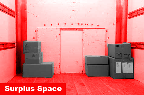 Photo showing more empty, surplus space occupied than full space, occupied by boxes.